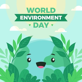 World environment day with cute planet