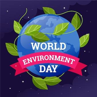 지구와 잎을 가진 세계 환경의 날