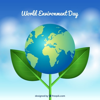 World environment day with earth flower background