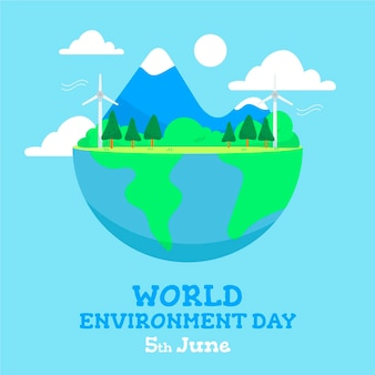 World environment day with half planet
