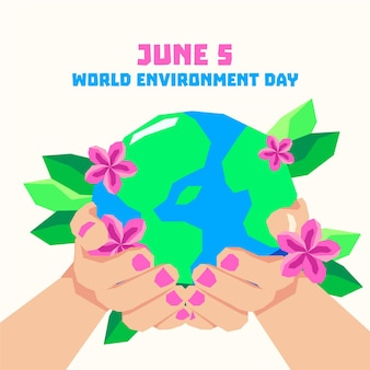 World environment day with hands holding planet