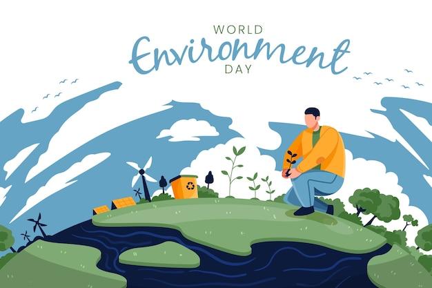 自然の中の男と世界環境デー