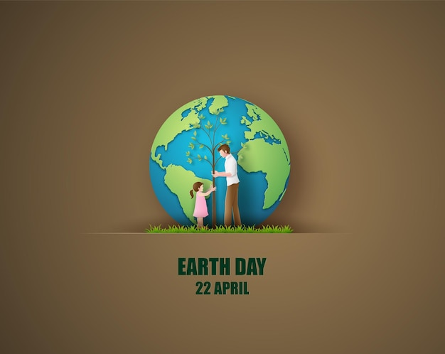 World environment and earth day concept with dad and daughter plant a tree,paper cut  style