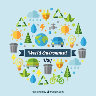 World environmental day background with elements in flat design Free Vector