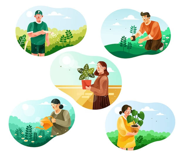 World environmental day. greening activities illustration