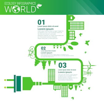 World environmental protection green energy ecology infographics banner with copy space