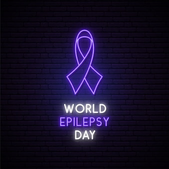 World epilepsy day concept neon signboard.