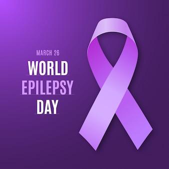 World epilepsy day. purple ribbon epilepsy symbol.