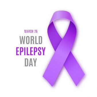 World epilepsy day. purple ribbon symbol.
