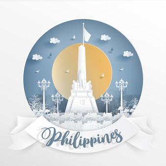Всемирно известная достопримечательность филиппин с белой рамкой и ярлыком