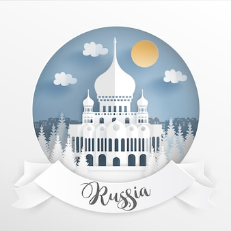 World famous landmark of russia with white frame.