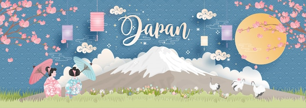 World famous landmarks of japan with fuji mountain