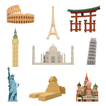 World famous landmarks set of eiffel tower statue of liberty taj mahal isolated vector illustration