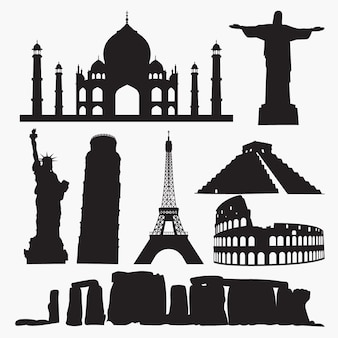 World famous places silhouettes