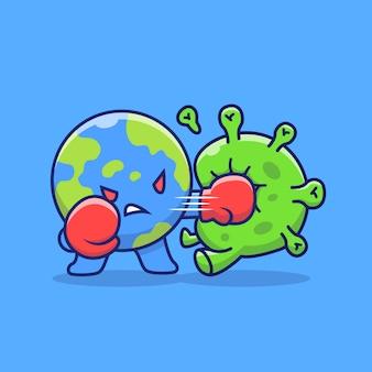 世界の戦いコロナウイルスアイコンイラスト。コロナマスコットの漫画のキャラクター。分離された世界のアイコンの概念