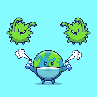 World fight corona virus иконка иллюстрация. корона талисман мультипликационный персонаж. мир иконка концепция изолированные