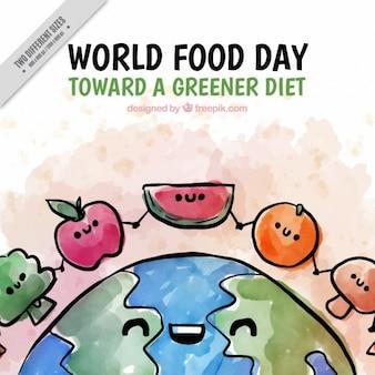 수채화 세계 음식의 날 배경