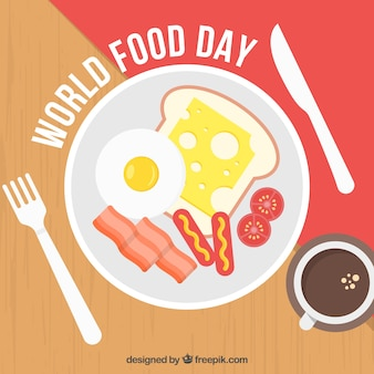 World food day background with breakfast design