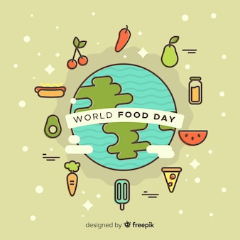 World food day background with food around earth