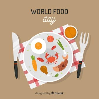 World food day background with food on dish