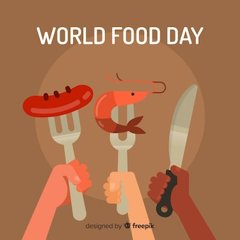 World food day background with forks