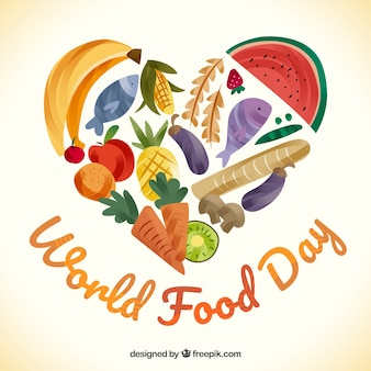 World food day background with fruit and vegetables