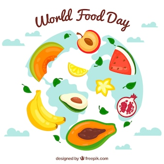 World food day background with fruit