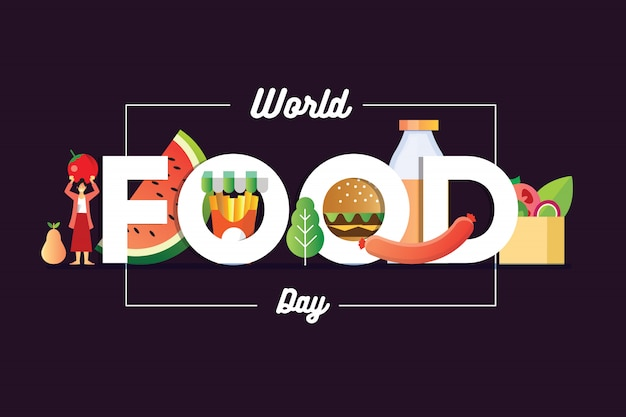 World food day banner with a girls holding a fruit and burger sosis and a basket of salad