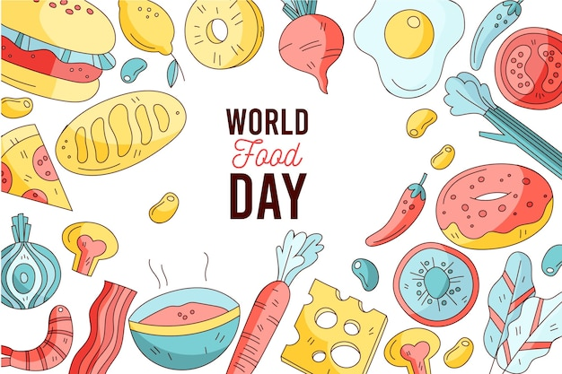 World food day celebration hand drawn