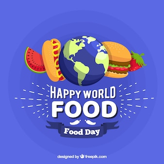 World food day concept with flat design background