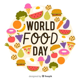 World food day concept with hand drawn background