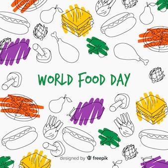 手描きの背景を持つ世界食糧日コンセプト