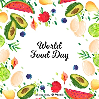 World food day concept with watercolor background