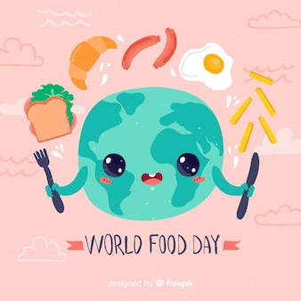 World food day cute flat design