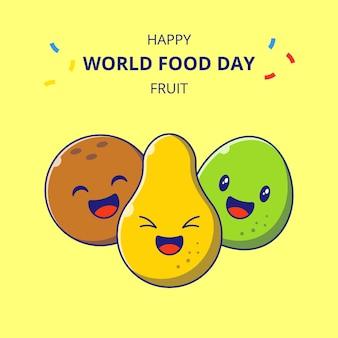 Всемирный день продовольствия герои мультфильмов милые фрукты. набор мультфильмов талисмана груши, кокоса и гуавы.