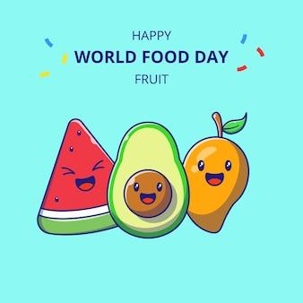 Всемирный день продовольствия герои мультфильмов милые фрукты. набор мультфильмов талисмана арбуза, авокадо и манго.