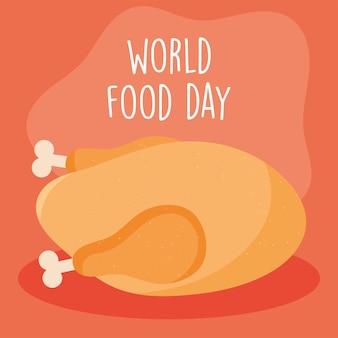 Дизайн всемирного дня еды с жареной курицей
