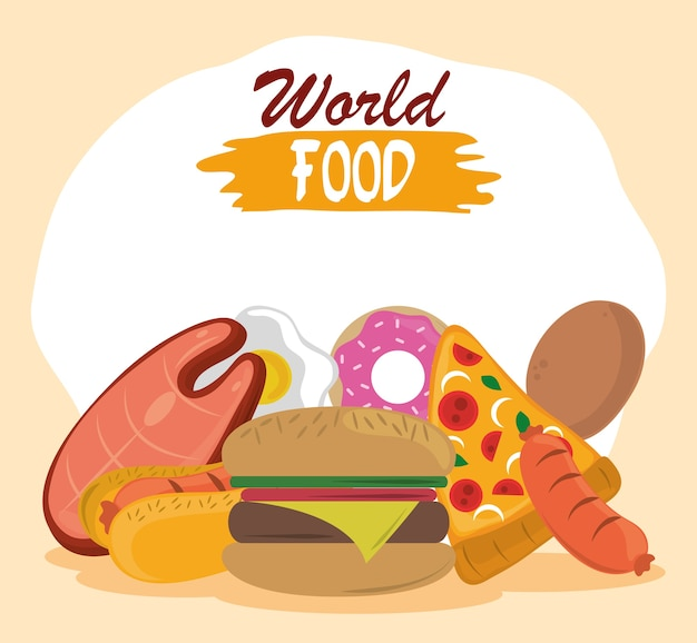 World food day, fast food burger pizza hot dog sausage donut.