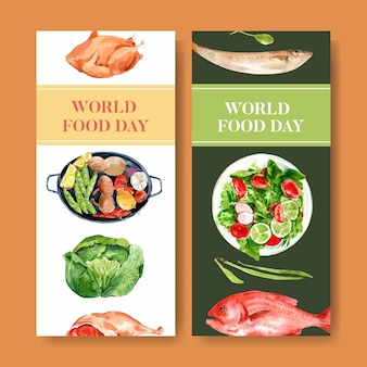 World food day flyer with chicken, cabbage, fish, salad watercolor illustration.