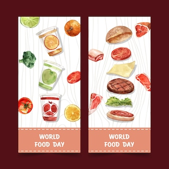 World food day flyer with pumpkin, broccoli, hamburger watercolor isolated illustration.