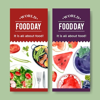 World food day flyer with salad and fruit dressing watercolor illustration.