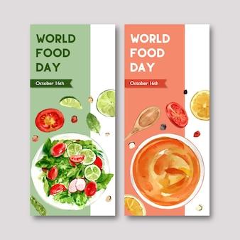 サラダ、サラダドレッシングの水彩イラストの世界食糧日チラシ。