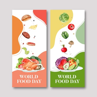 World food day flyer with tomato, chicken, bell pepper, beetroot watercolor illustration.
