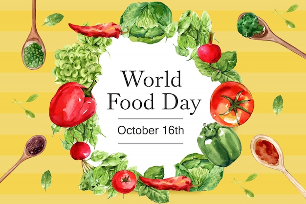 World food day frame with chili, tomato, basil, leaf watercolor illustration.