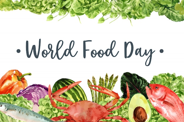 World food day frame with crab, fish, avocado, bell pepper watercolor illustration.