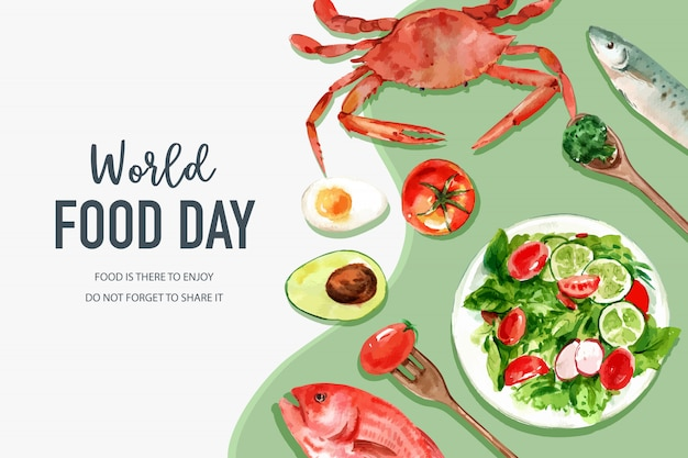 World food day frame with crab, tomato, fish, salad, egg, avocado watercolor illustration.