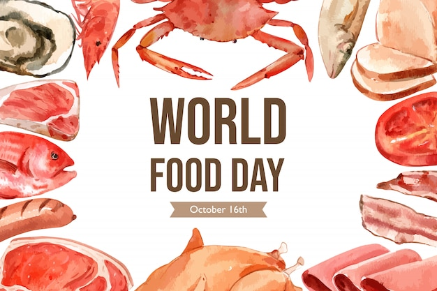 World food day frame with seafood, meat, sausage, steak, ham watercolor illustration.