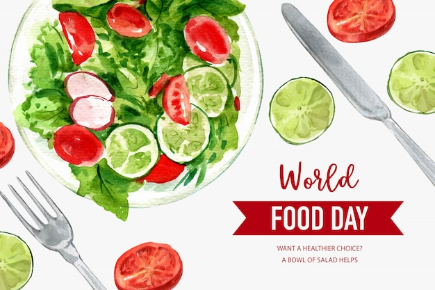 World food day frame with tomato, peas, lime, lettuce watercolor illustration.