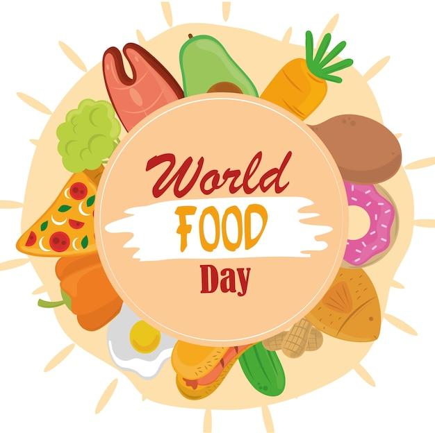 Всемирный день еды, рамка еды здорового образа жизни с формой круга.