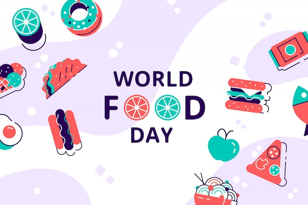 World food day illustration. various food, fruits, vegetables. flat style modern design vector illustration